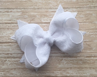 White lace hair bow, lace hair bow, Boutique hair bows, hair bows, large hair bow, wedding hair bow, first communion hair bow