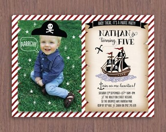 Pirate Theme Kid's Birthday Invitation with Photo // Digital Birthday Invitation for Child of Any Age // Kids Pirate Party Birthday Invite