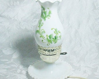 Vintage Hand Painted Milk Glass Hurricane Lamp With Ruffled Rim