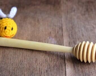 Handmade Orange Wood - Fine Honey Dipper - Natural Utensil