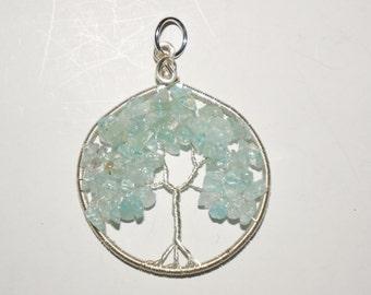 Aquamarine Tree of Life Pendant