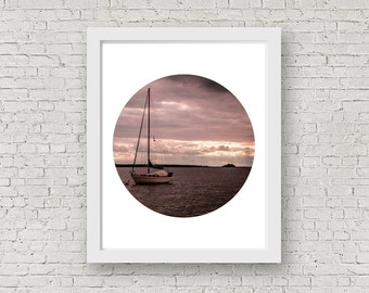 Printable file,Circle photo print,Boat in the Sea-printable files,Scandinavian wall art,Digital art,Home decor,Instant Download,Printables