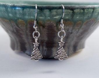 Silver Christmas Tree Earrings