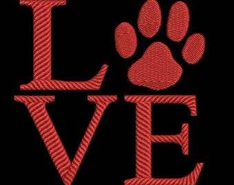 Love dogs machine embroidery design - Love embroidery design - Valentine's day embroidery design - Dogs embroidery - paw print embroidery