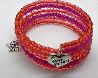 Pink Beaded Bracelet, Birthday Bracelet, Raspberry Bracelet, Wrap Bracelet, Memory Wire Bracelet, Stacked Bracelet, Wire Wrap Bracelet