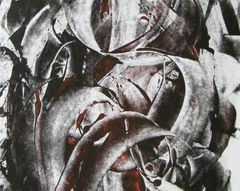 """Art  abstrait contemporain - Encres sur papier """"Peinture abstraite"""" Oeuvre originale - Volutes Noir et rouge - Impression encre"""