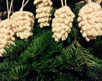 Crochet Pinecone Ornament Set