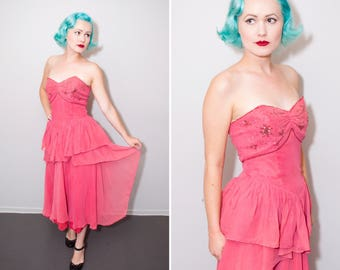 1940's Hot Pink Sequin Strapless Party Dress | Peplum | Size Medium