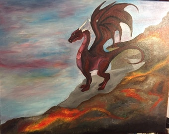 """16"""" x 20"""" Oil painting, dragon on a mountain, with lava. Unique one of a kind piece, signed. On a stretched canvas."""