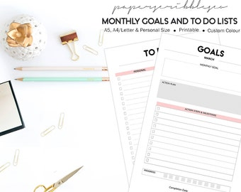 Printable Goal Planner, Goal Setting Planner, Goal Tracker, Yearly Goals, Monthly Goals, To Do Lists, Printable Planner, Custom Colours