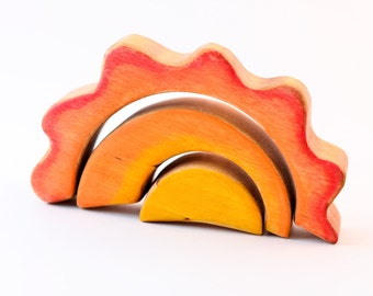 Wooden SUN stacker // CLOUD // for Waldorf RAINBOW // Puzzle // Wooden toys // Toddlers // Eco Friendly Toy // Waldorf Toy