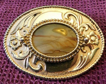 Western Style Natural Stone Gold tone Belt Buckle