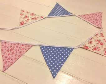 Handmade Floral & Polka Dot Bunting - 6 Flags
