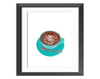 Coffee 8x10 Print - Original Painting = Illustration - Wall Art - Kitchen - Latte - Latte Art - Espresso - Cafe - Bar - Morning