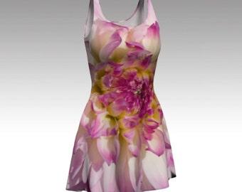 Pink Dress, Flower Dress, Floral Dress, Flare Dress, Skater Dress, Bodycon Dress, Fitted Dress, Fit and Flare Dress, Dahlia Dress, Nature