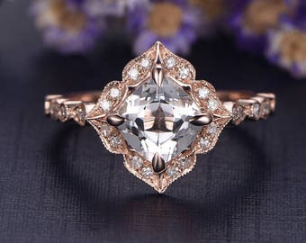 7mm Cushion White Topaz engagement ring Solid 14k Rose gold diamond promise ring,Floral Art deco brudal set  custom made fine jewelry