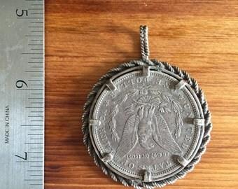 Vintage 1889 Morgan Silver Dollar Pendant