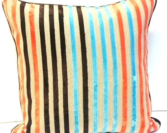 "Decorative Cushion cover orange blue stripes Eijffinger fabrics Linen Velvet // 16""x16"" * 40cmx40cm //"