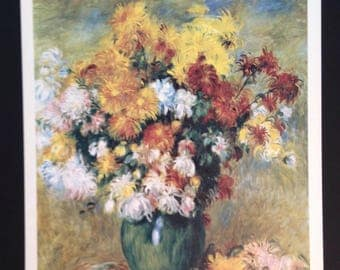 Vintage French lithograph of Bouquet of Chrysanthemums still life by Renoir