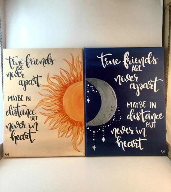 True friends sun moon distance canvas painting set of 2 for Good quotes to paint on my wall