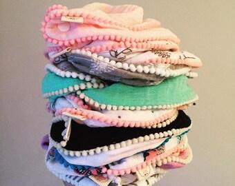 Baby Girl Bibdanna|Cotton Muslin|Pom-Pom|Shabby Chic Bib