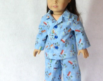 Boy's camping themed flannel pajamas for 18 inch doll.  House slippers included.  FREE SHIPPING!