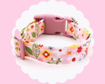 Pink Multi Flowers Dog or Puppy Collar