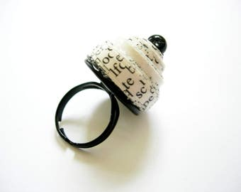 Ring paper. Black white, party, design, funny, mother's day.