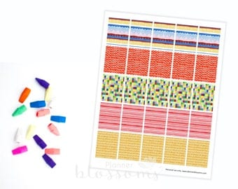 "Boxes Planner Stickers, printable. Colorful patterns. US Letter Size (8.5""x11""), Erin condren box stickers. Life planner boxes stickers."