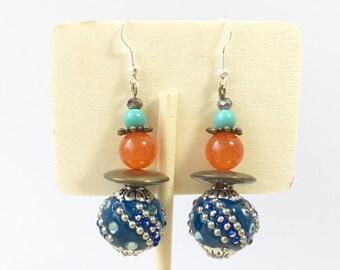 Earrings Ethnic Bohemian bronze multicolored Creator piece attachment silver 925