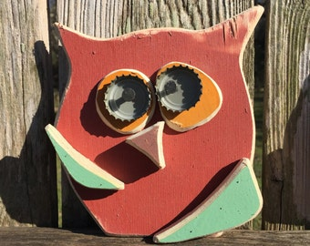 "Wooden Folk Art Owl ""Fran"""