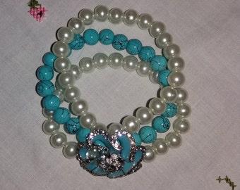 Truely stunning vintage bead/pearl enamel bracelet