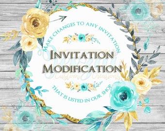 Invitation Modification   Design Modification   Jexzai Custom Creations Listings ONLY   Single Listing