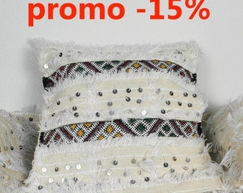 2 cushion covers handira White Sequined