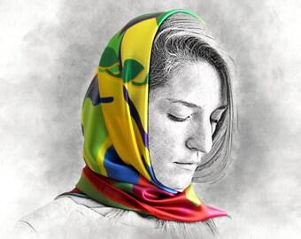 AXLE silk scarf, rainbow scarf, silk shawl, colorful scarf, gift for her, multicolor scarf, shawl, long scarf, printed silk scarf