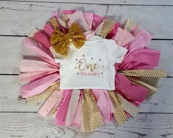 fabric tutu birthday set