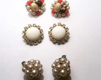 Set of 3: Vintage Clip On Earrings