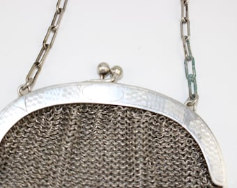 Antique Chainmail Evening Bag, Alpacca Silver Chain Mail Bag or Purse, Vintage German Silver Bag,