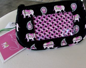 Vera Bradley-Black and Pink Paisley/Elephants-Cloth-Zip-ID-Change Purse,Small Black Coin Purse,