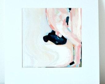 "Yoga Art - Matted Print (12x12""). ""Dve"" or forward fold, 2nd Posture in Ashtanga Vinyasa - Sun Saluation), Figure Painting. By Sarah Pierroz"