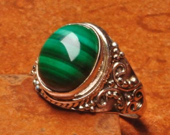 Ring Silver 925 stone Malachite size: 54