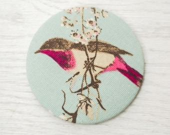 Purse Mirror - fabric pocket mirror - bird mirror - hand bag mirror - make up bag mirror - token gift - stocking filler - gift for her
