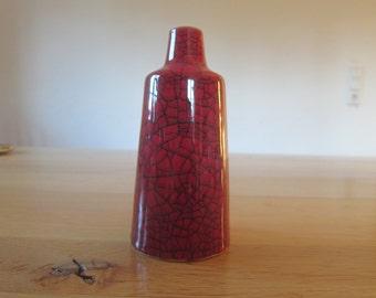 Delete - 50s vase with red black Craquelle ceramic glaze