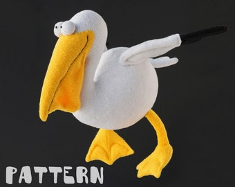 Pelican toy Pattern, Sewing pelican toy pattern, Bird PDF pattern, Instant Download PDF, DIY pelican