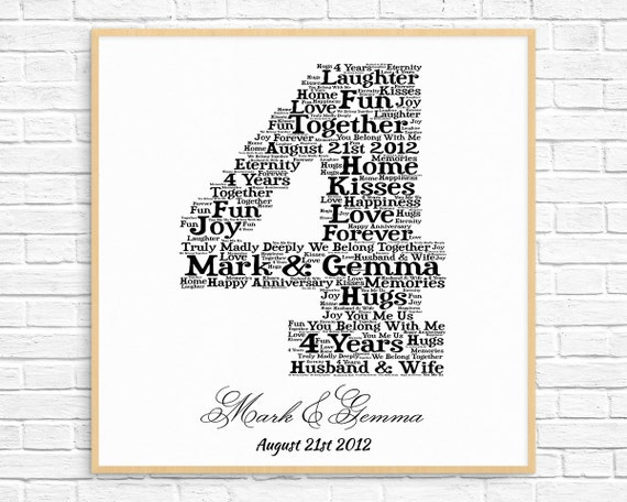 PERSONALIZED 4th ANNIVERSARY Gift Word Art Printable