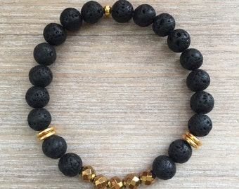 Black Lava Stone and Gold Hematite Beaded Bracelet // Gold Accents // Stretch Beaded Bracelet