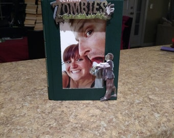 4 X 6 Book Picture Frame Beware of Zombies On a Green Book