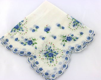 Vintage Floral Handkerchief, Something Blue, Flower Girl Handkerchief, Wedding Handkerchief, Vintage Wedding, Blue Wedding, Gifts For Mom