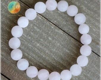 Matte Rose Quartz, 8mm Genuine Rose Quartz bracelet, Rose Quartz Jewelry, Rose Quartz Jewelry,Rose Quartz Gemstone,Heart Chakra,Love crystal