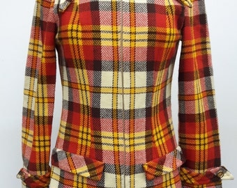 70s Checked Fitted Jacket